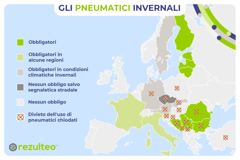 Mappa della legislazione sugli pneumatici invernali in Europa